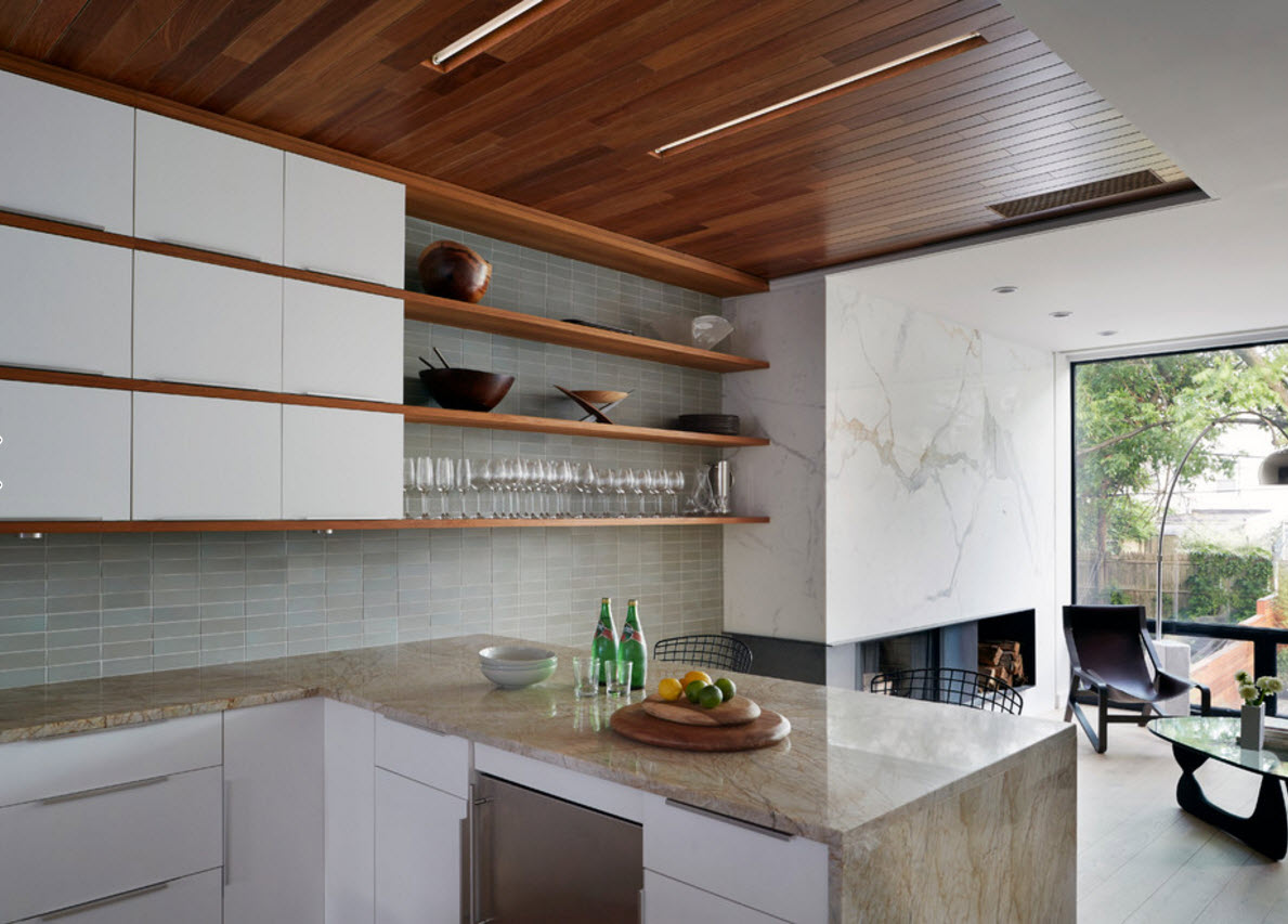Contemporary Style Private House Design Project. Wooden ceiling in the kitchen looks amazing