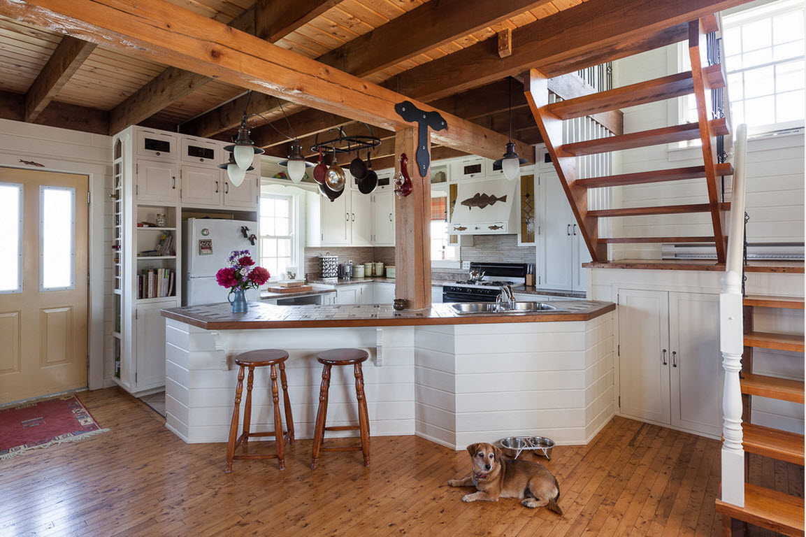 Top 15 Best Wooden Ceiling Design Ideas. Nice kitchen zone trimmed with wooden panels