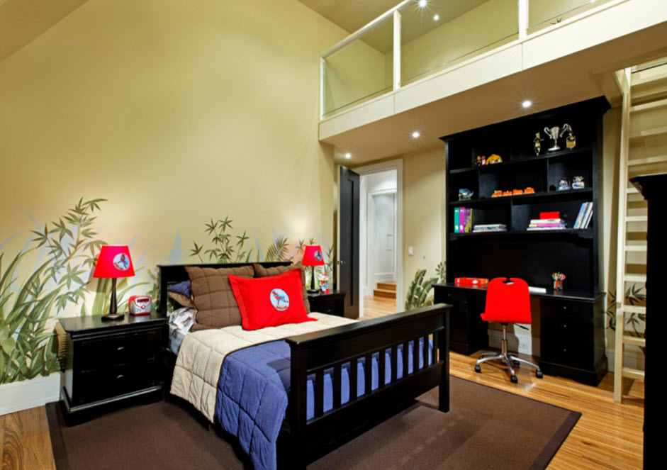 Exclusive Two-Storey House Design. Nice tender women`s bedroom with nightstand