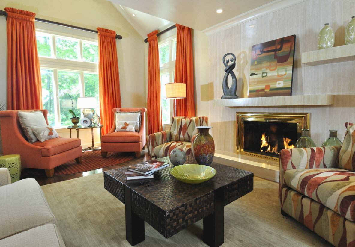 Living Room Curtains Design Ideas 2016. Experimental Orange Drapes For The  High Room In Modern