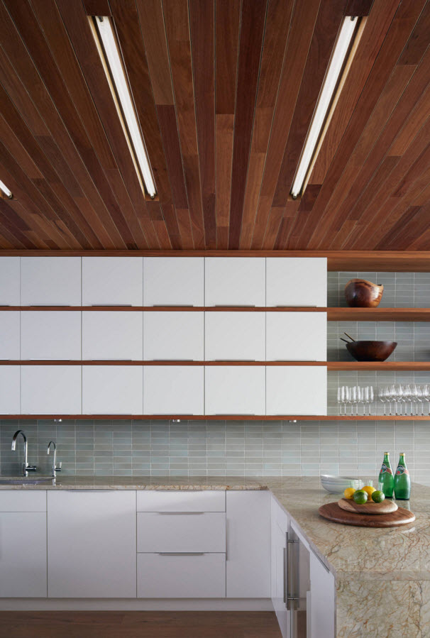 Contemporary Style Private House Design Project. Dark wood and nobility of the white in the kitchen