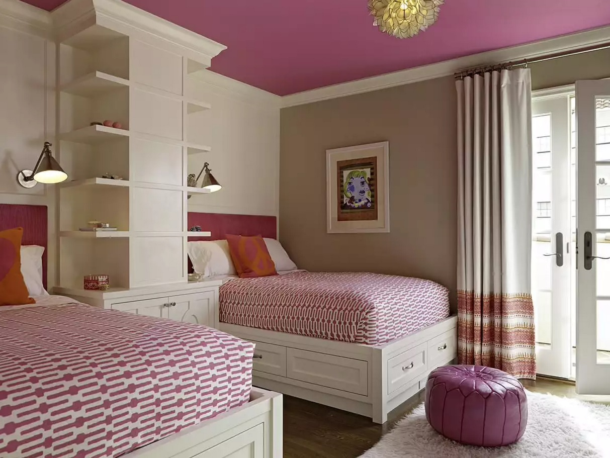 Unusual Bedroom Interior Design Ideas 2016. Enchanting pink decoration with the shelves in the bedroom for two