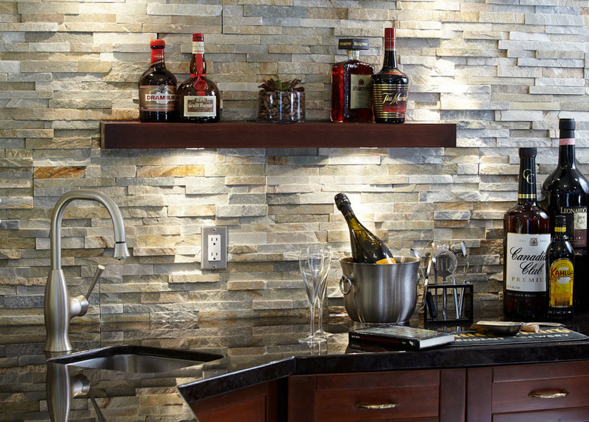 Modern Classics Private House Design Ideas. Stone cladded effective spashback in the kitchen