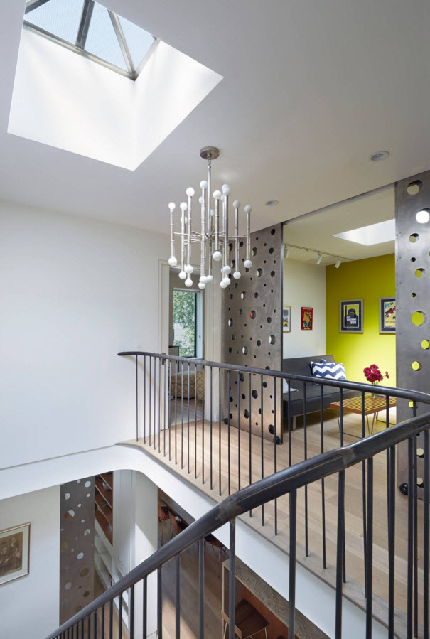 Contemporary Style Private House Design Project. Skylight above the stairs