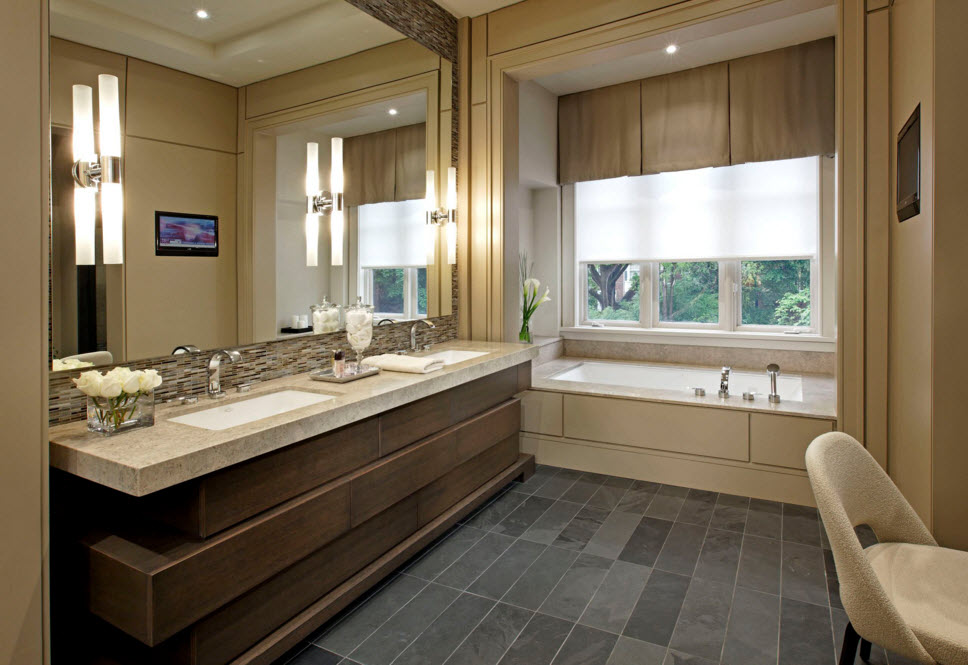 Exclusive Two-Storey House Design. spacious noble wooden trimmed bathroom