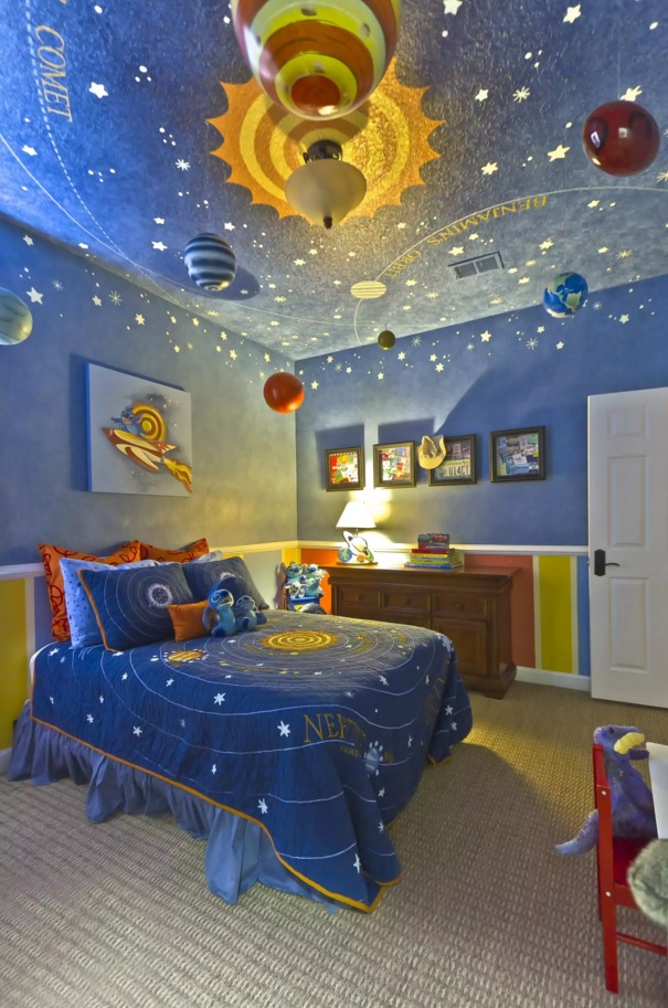 Unusual Bedroom Interior Design Ideas 2016. Lunar and Lilo & Stitch theme for the kids` room