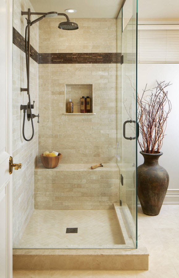 Modern Classics Private House Design Ideas. modern concept of the glass and stone decoration of the bathroom