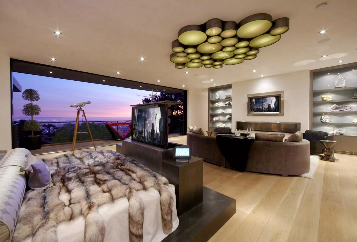 Unusual Bedroom Interior Design Ideas 2016. Honeycomb lamp at the ceiling of the large living with the sleeping zone