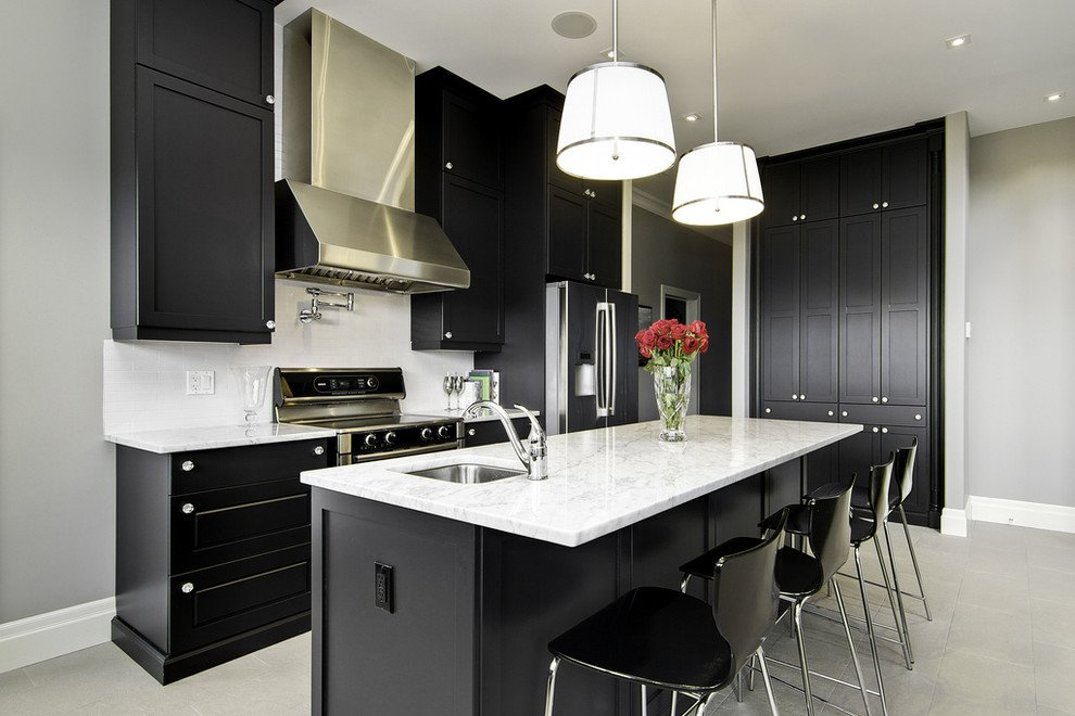 Black Furniture: Interior Design Photo Ideas. White and dark combination of the interior of hi-tech styled kitchen
