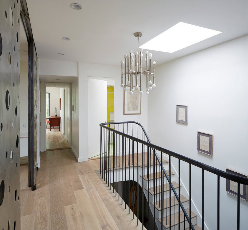 Contemporary Style Private House Design Project. Tiny steel railings of the staircase
