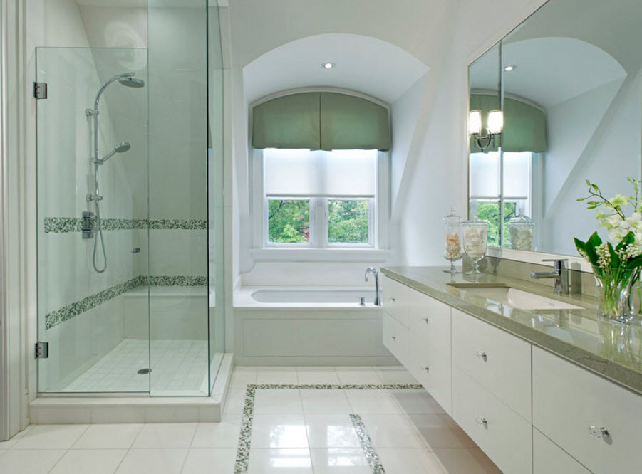 White contemporary styled bathroom design with marble floor