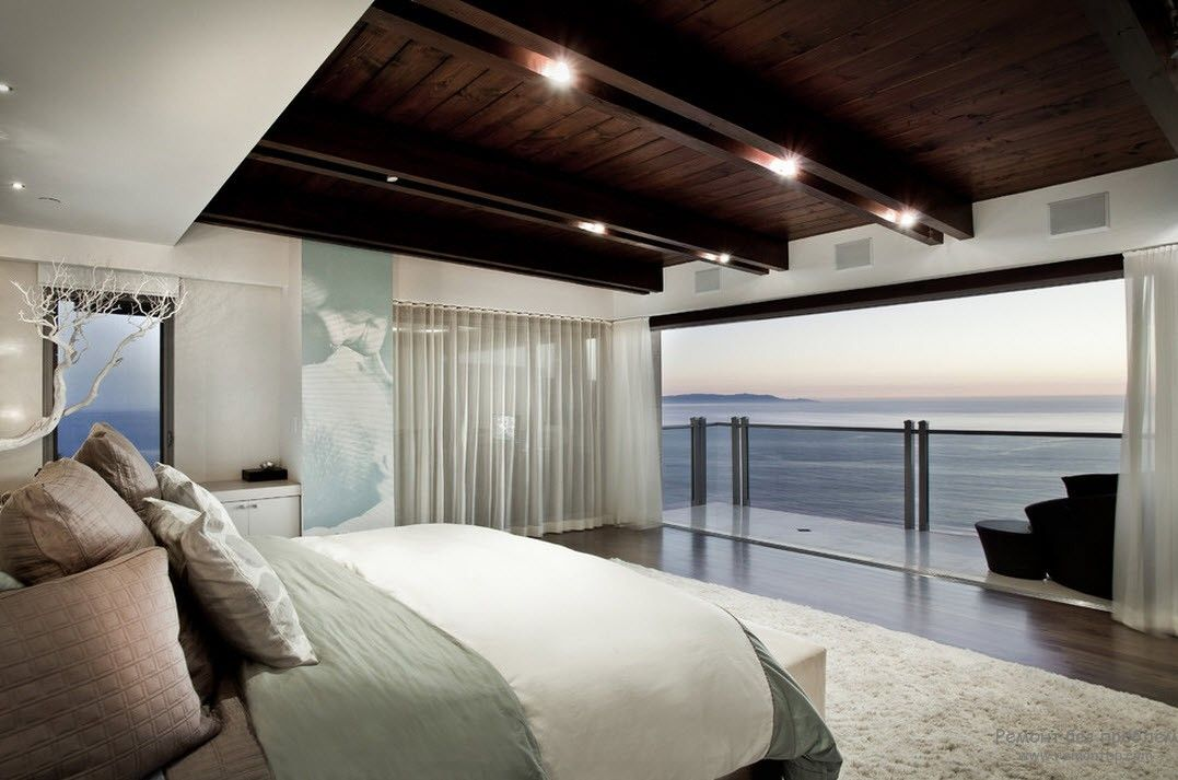 Top 15 Best Wooden Ceiling Design Ideas. Seashore apartment with the fals beamed dark top