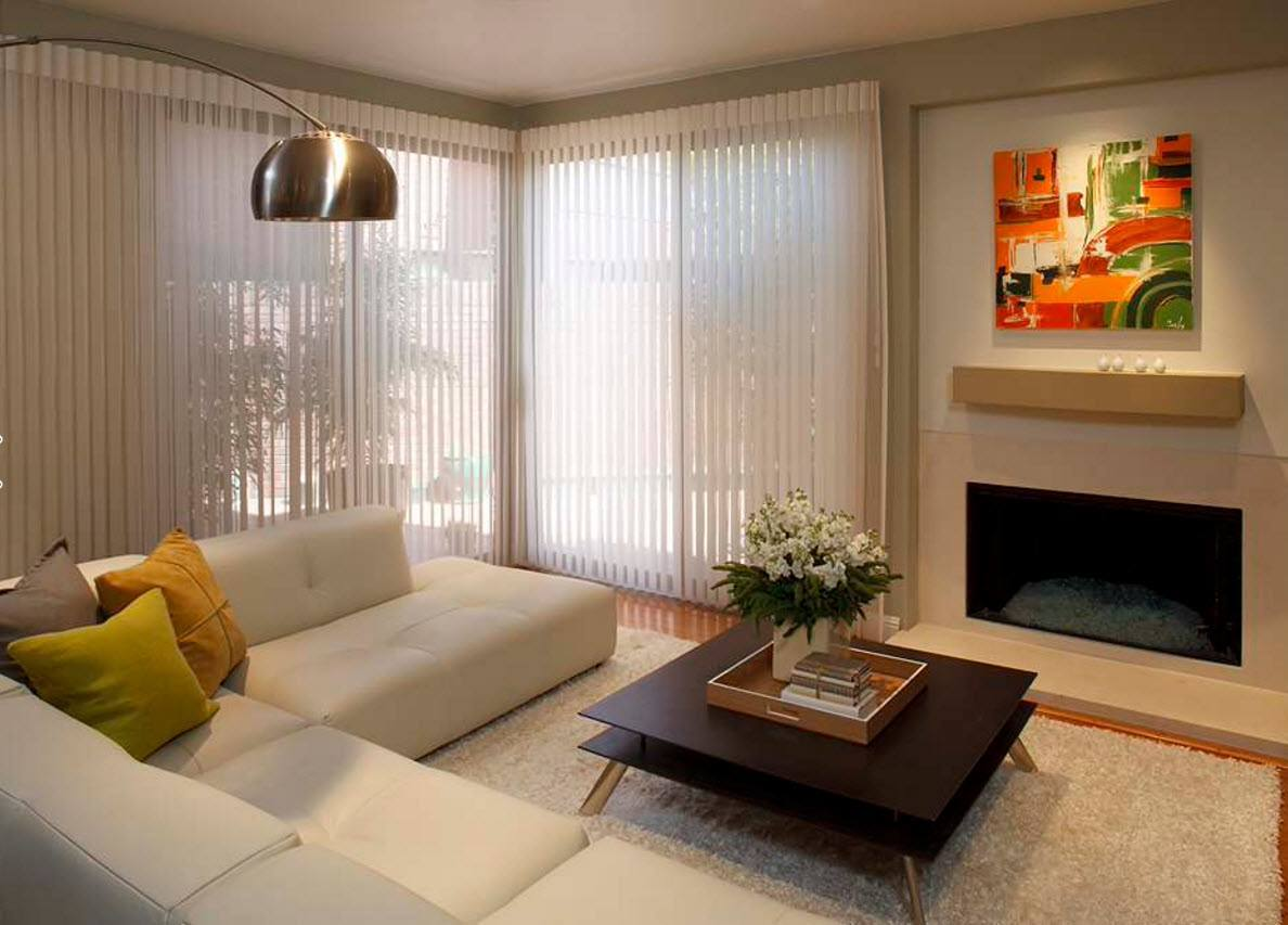 Living Room Curtains Design Ideas 2016. Modern minimalistic style with the vertical light blinds looks charmingly