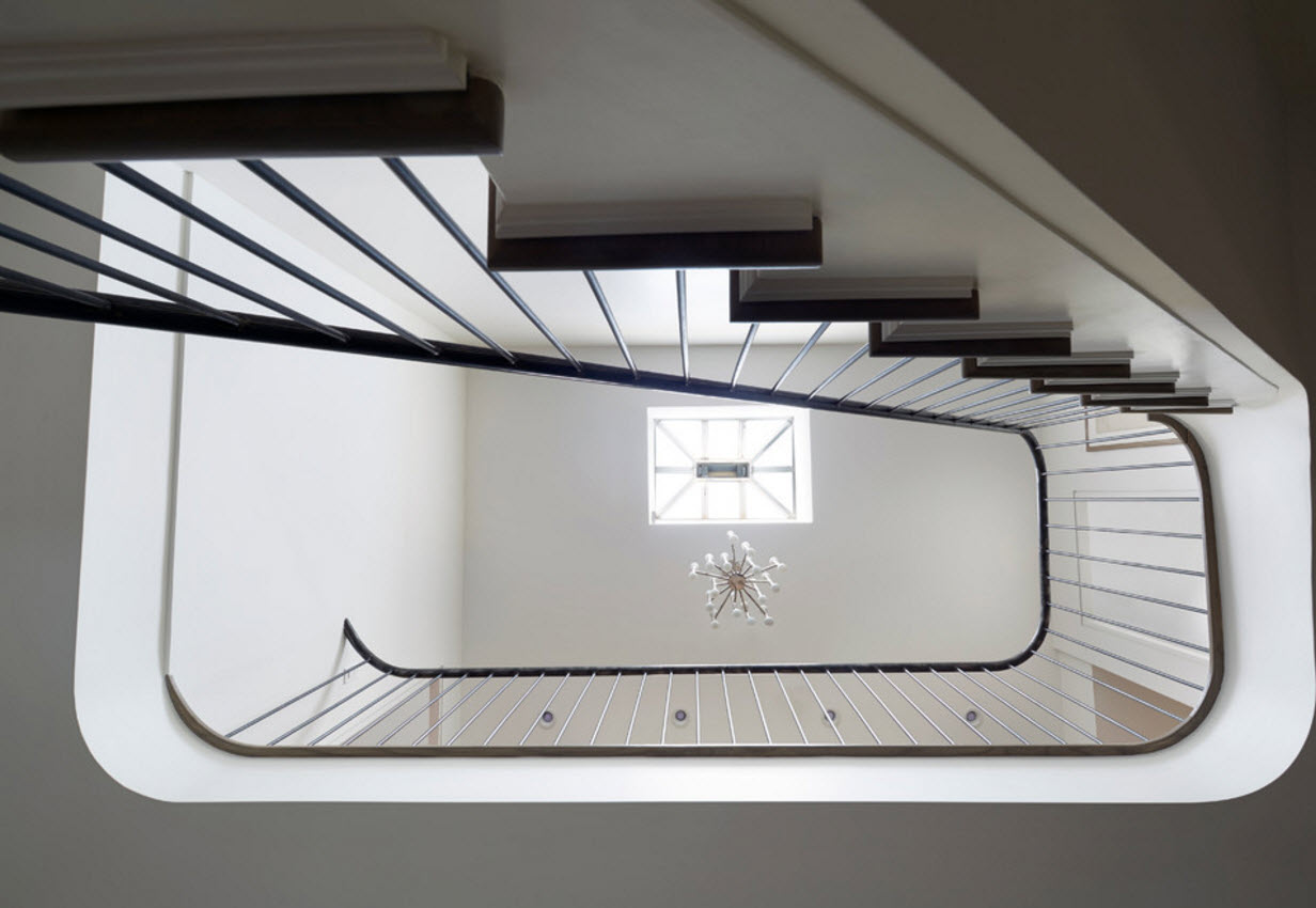 Spiral staircase of the contemporary styled house