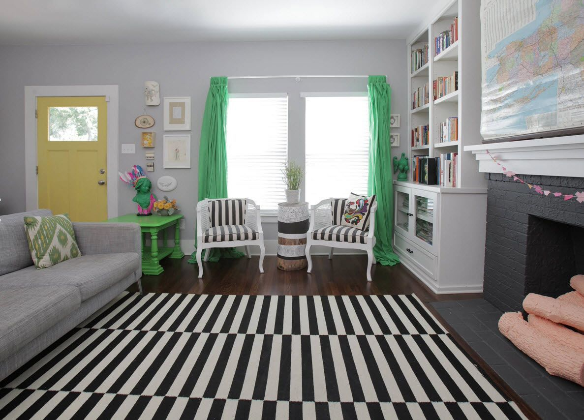 Living Room Curtains Design Ideas 2016. Green Curtains Add The Contrst To  The Nice Black