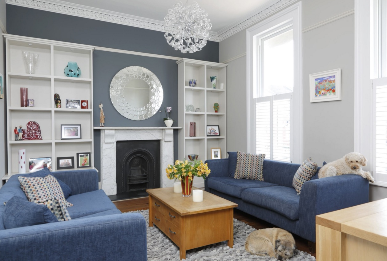 Blue Color Decoration Ideas for Living Room. Grayish decor in the classic interior