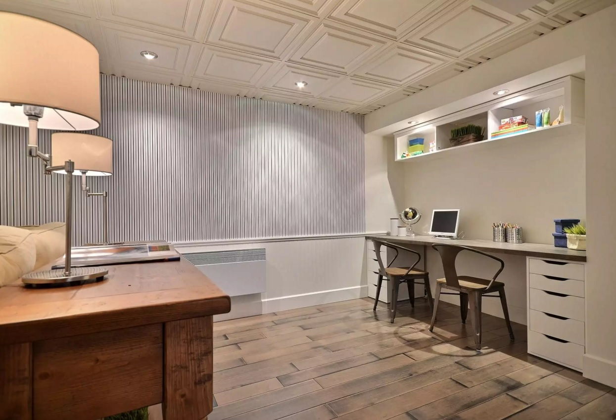 Choosing and Mounting the Ceiling Tiles. Home office with large squares of tiles