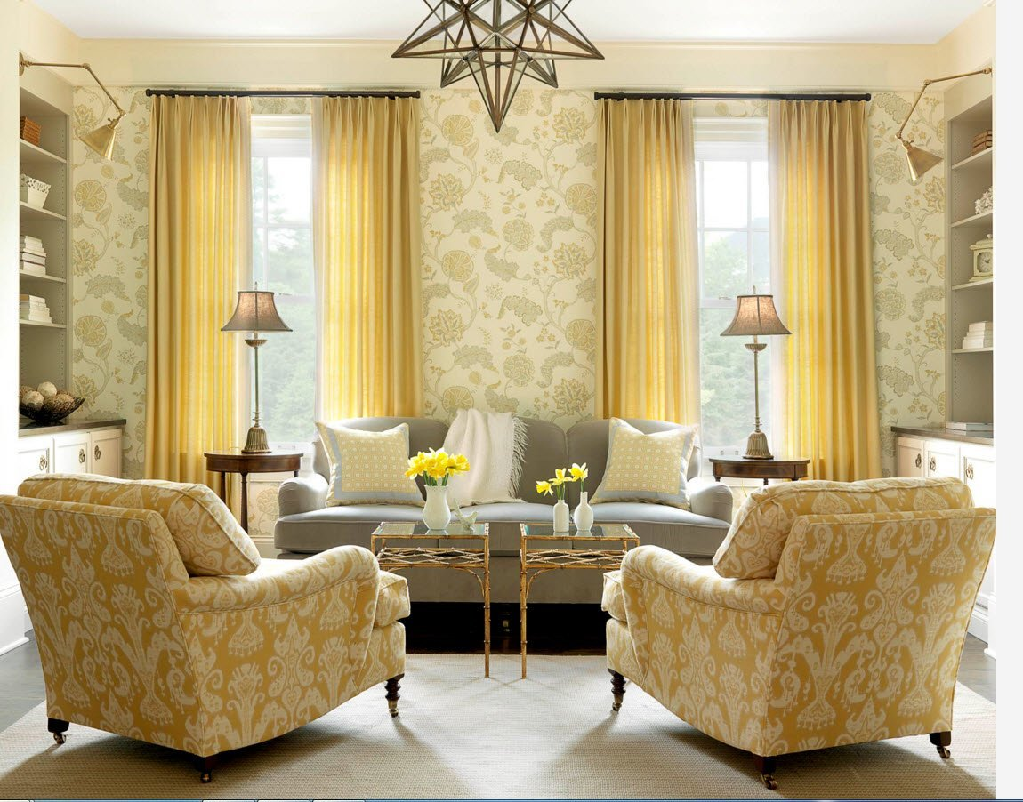 Living Room Curtains Design Ideas 2016. Yet another classic styled room with the pattern embossed wallpaper and large armchairs as a focal point
