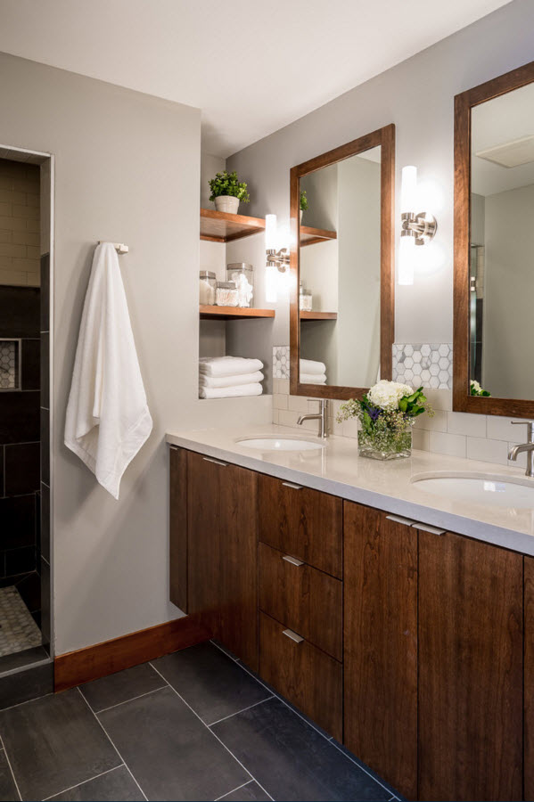 Laconic Contemporary House Interior Design. White and wooden mix in the bathroom