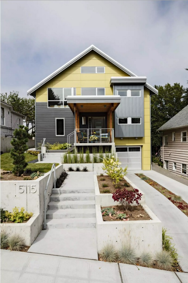 Original House Exterior Design Ideas. Yellow and dark gray color combination in the outside trimming of the village house