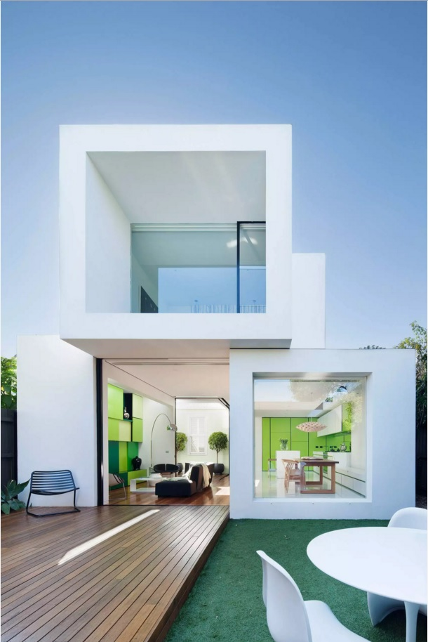 Original House Exterior Design Ideas. Box designed white unique house construction
