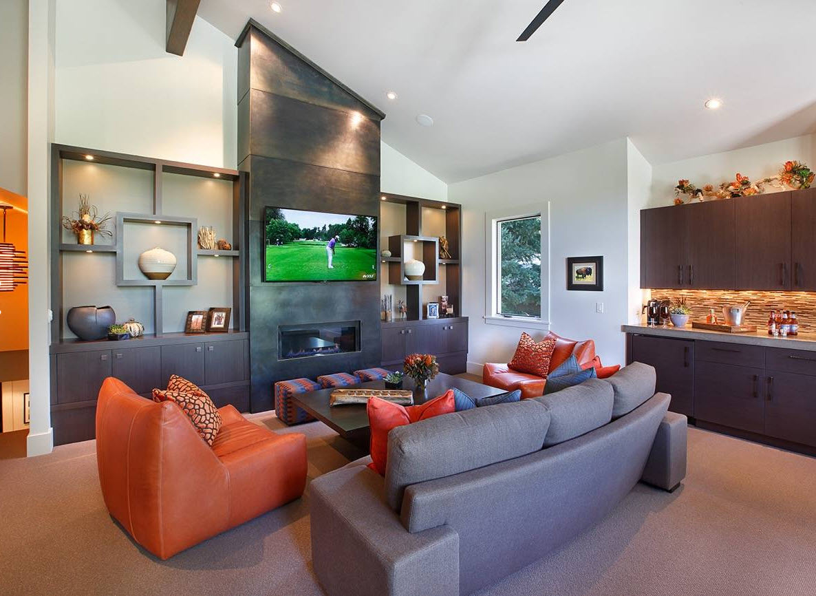 Storage Systems Variety for the Living Room. Original leather upholstered colorful furniture and the sloped designof the space with dark metallic accent wall with TV and fireplace and the skillful arrange,ent of the open storage