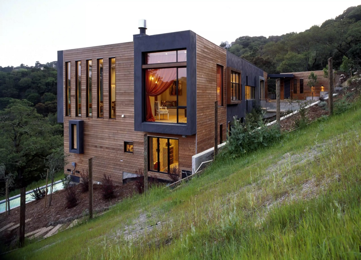 Original House Exterior Design Ideas. Absolutely unique wood trimmed mansion of two stores at the slope of the hill