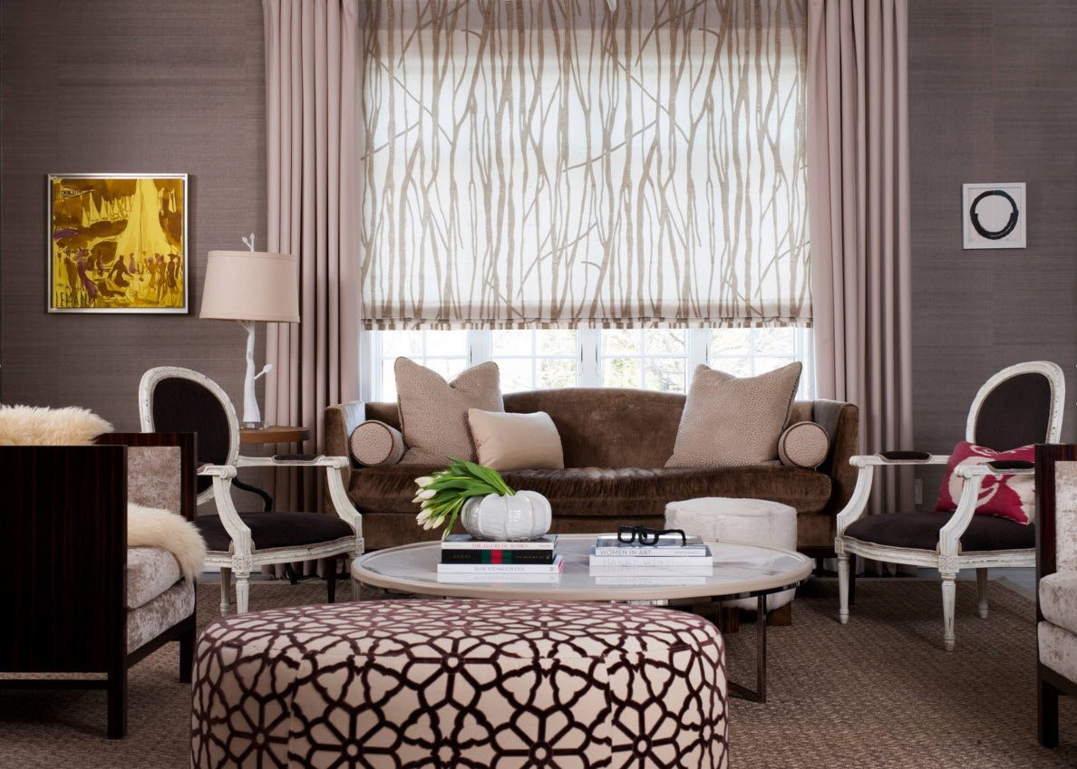 Living Room Curtains Design Ideas 2016. Creamy light interiro design with the painted ottoman, brownish furniture and straight curtains with painted transparent light tulle