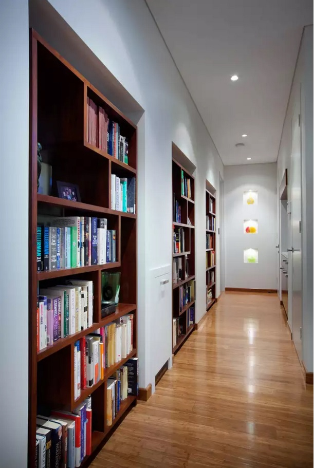 Top 20 Modern Unique Hallway Design Ideas. Space economy of the hallway with the shelves for books