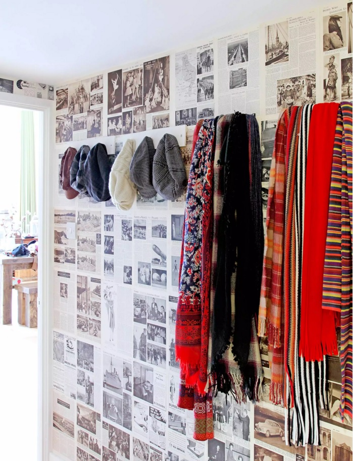 Top 20 Modern Unique Hallway Design Ideas. Newspaper instead of wallpaper at the tight experimental entry