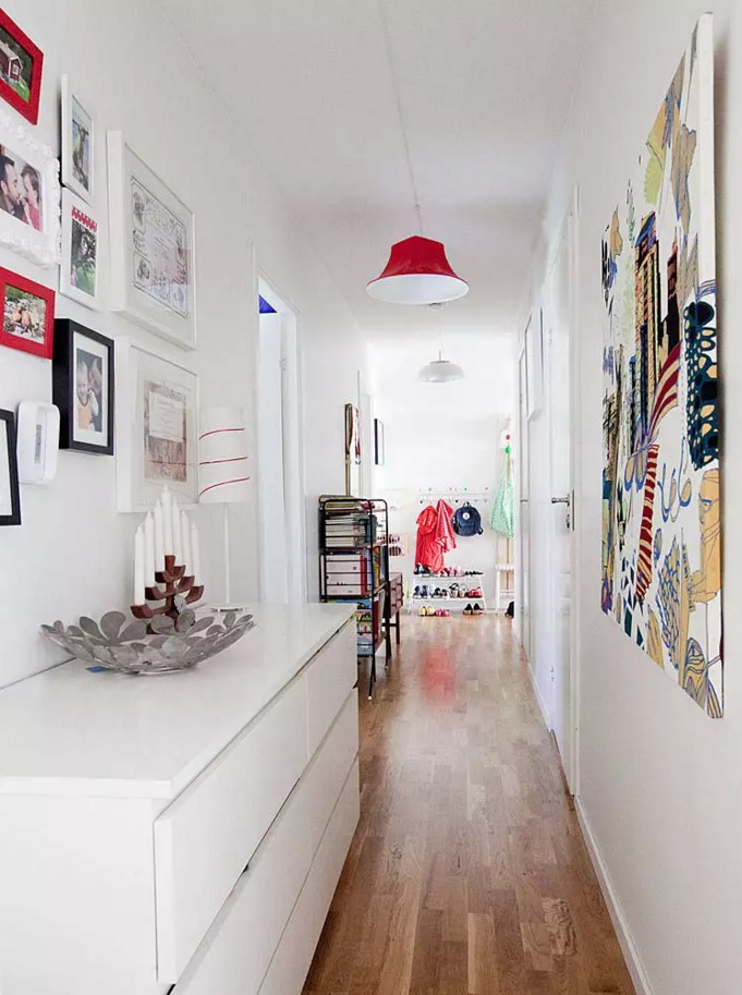 Top 20 Modern Unique Hallway Design Ideas. Broad space in white fully utilized and full of storage systems, as well as photo collections