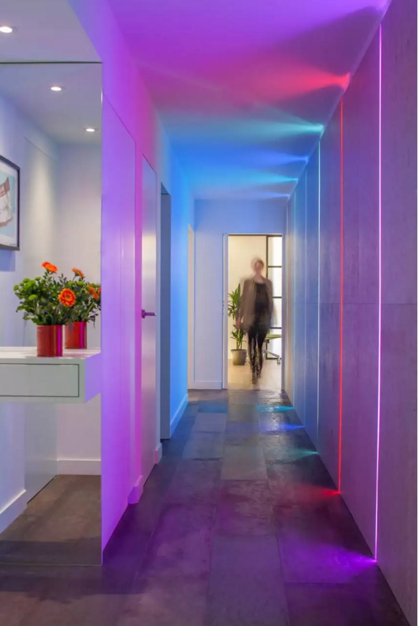 Top 20 Modern Unique Hallway Design Ideas. Neon backlight master interior idea for contemporary use