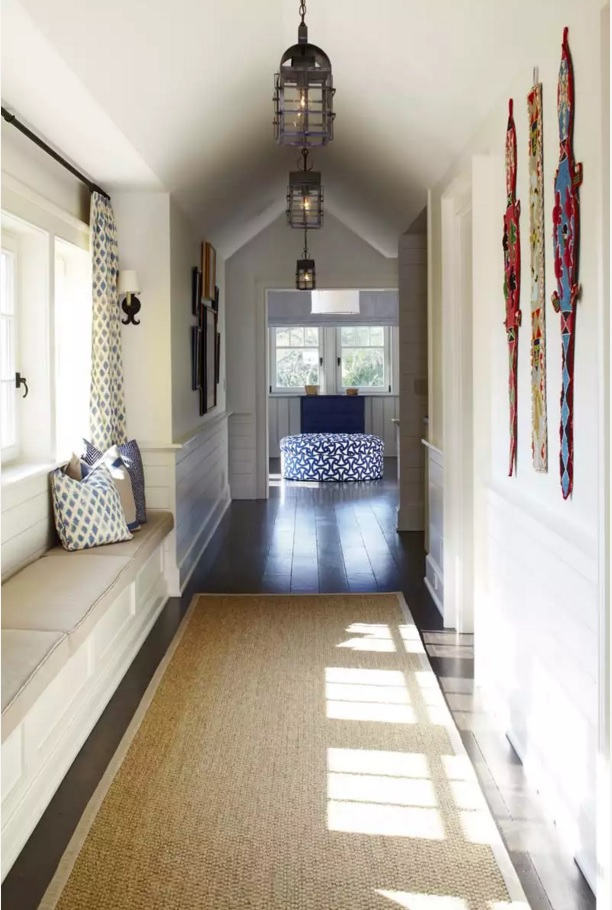 Top 20 Modern Unique Hallway Design Ideas. Space arrangement near the window into seating and storage place