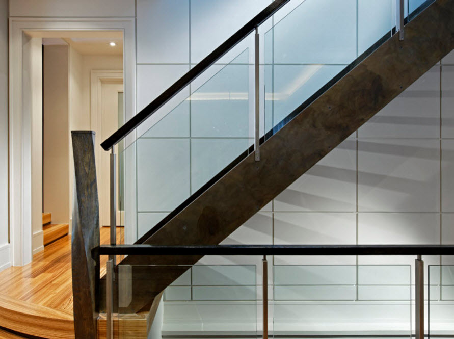 Exclusive Two-Storey House Design. Unusual staircase glass and steel design
