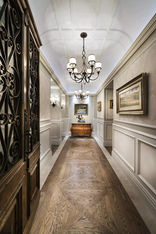 Top 20 Modern Unique Hallway Design Ideas. Nice Victorian style for the narrow long space with the stucco figuring