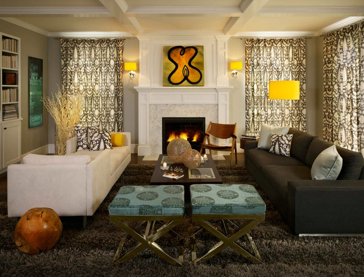 Living Room Curtains Design Ideas 2016. The Impressionistic Painting Above  The Fireplace Sets The Creative