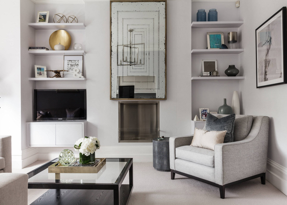 Storage Systems Variety for the Living Room. White classic interior with armchairs and the coffee table in the focus and the abstract figure, open shelves at the background