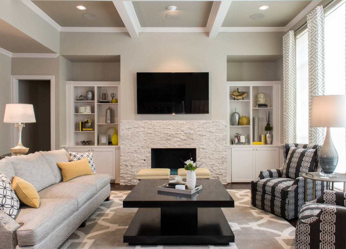 Storage Systems Variety For The Living Room Video Zone Electric Fireplace With Raw White Putty