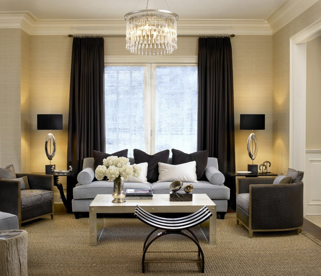 Living Room Curtains Design Ideas 2016 Calm Dark And Light Trimming Symbiosis With The Dark