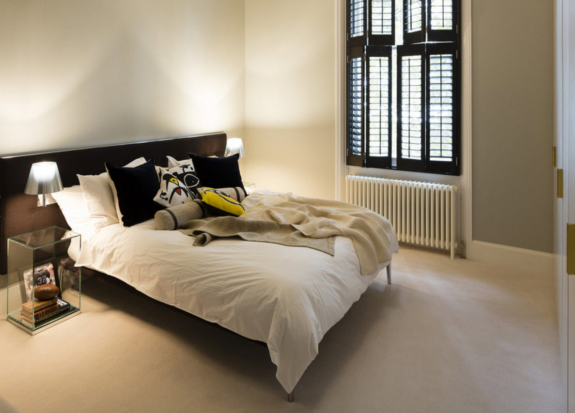 Light Interior and Bright Decor Apartment Design. Light finished bedroom with swooden shutters of unusual form