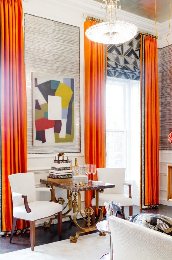 Living Room Curtains Design Ideas 2016. Bold orange blinds for the eclectic styled apartment with the white soft furniture ensemble
