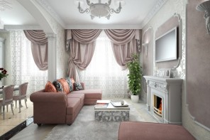 Real Art Deco Apartment Design in Europe. Burgundy corner sofa and the coffee table in front of the fireplace and the grandeur curtains with lambrequins on the tulled window