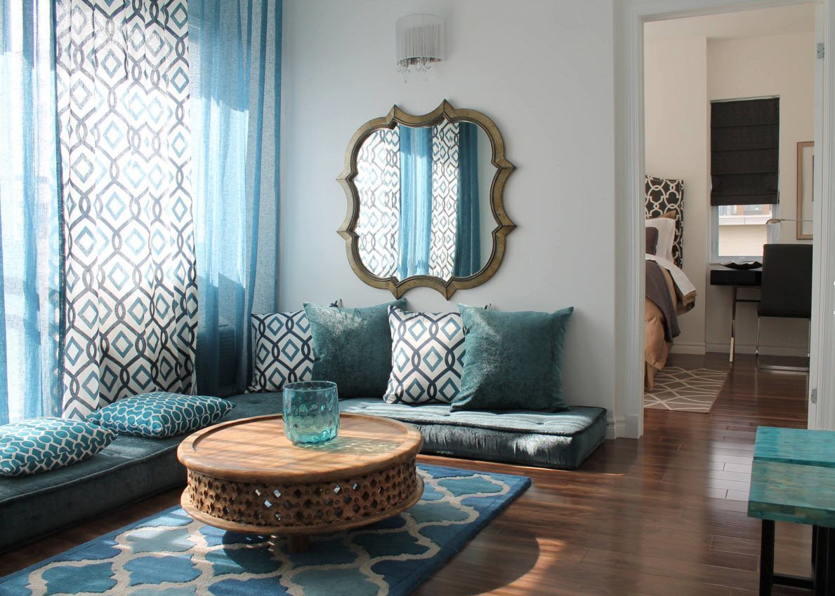 Living Room Curtains Design Ideas 2016. Curtains with nice blue pattern disperse the light and the shadow throughout the room