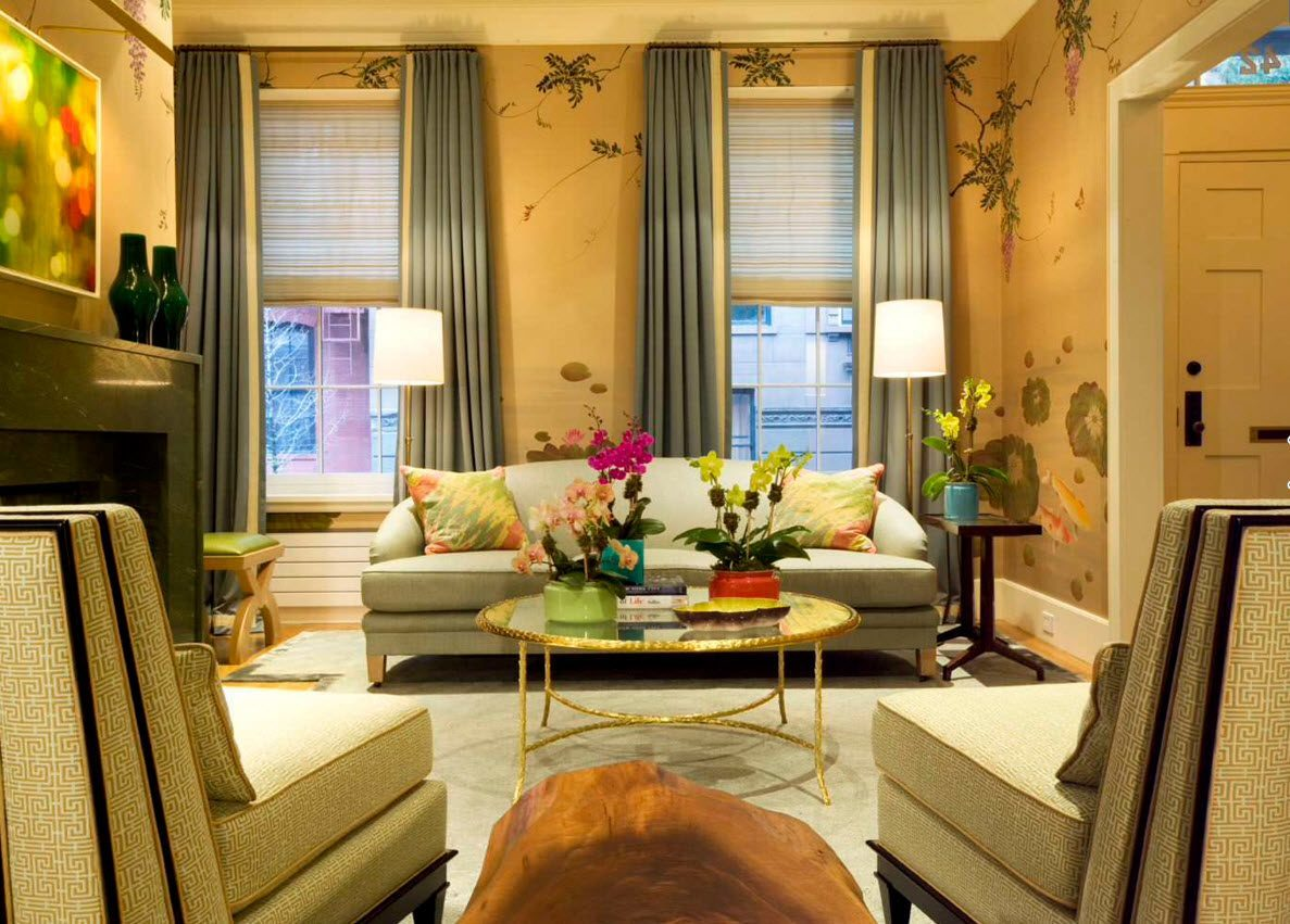 Living Room Curtains Design Ideas 2016. Very flamboyant and vivid interior design with the use of picquant dark green curtains