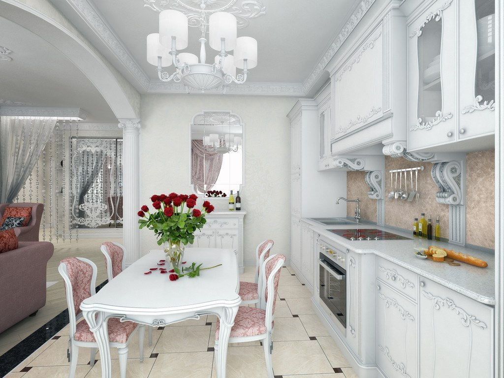 Real Art Deco Apartment Design in Europe. Dining zone is located right near the kitchen set row