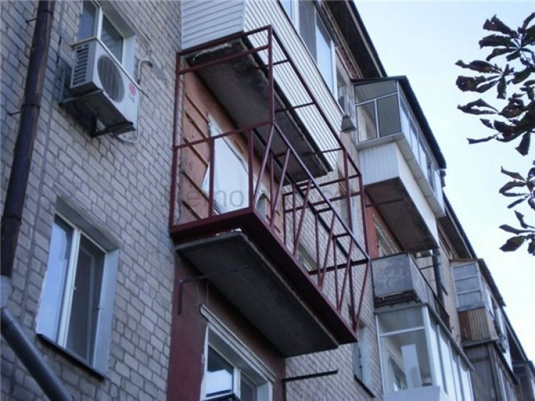 Modern Glazing for Balcony or Loggia. Metal frame of the protrusion balcony