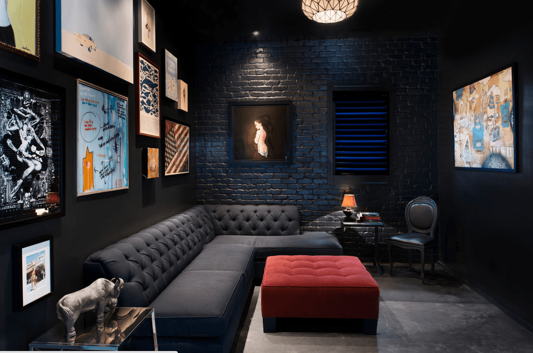 Black Furniture: Interior Design Photo Ideas. Black industrial design style with unique impressionistic photos on the walls and intimate lighting