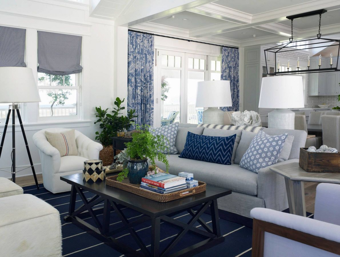 Living Room Curtains Design Ideas 2016. Marine style of the interior with logical blue painted drapes