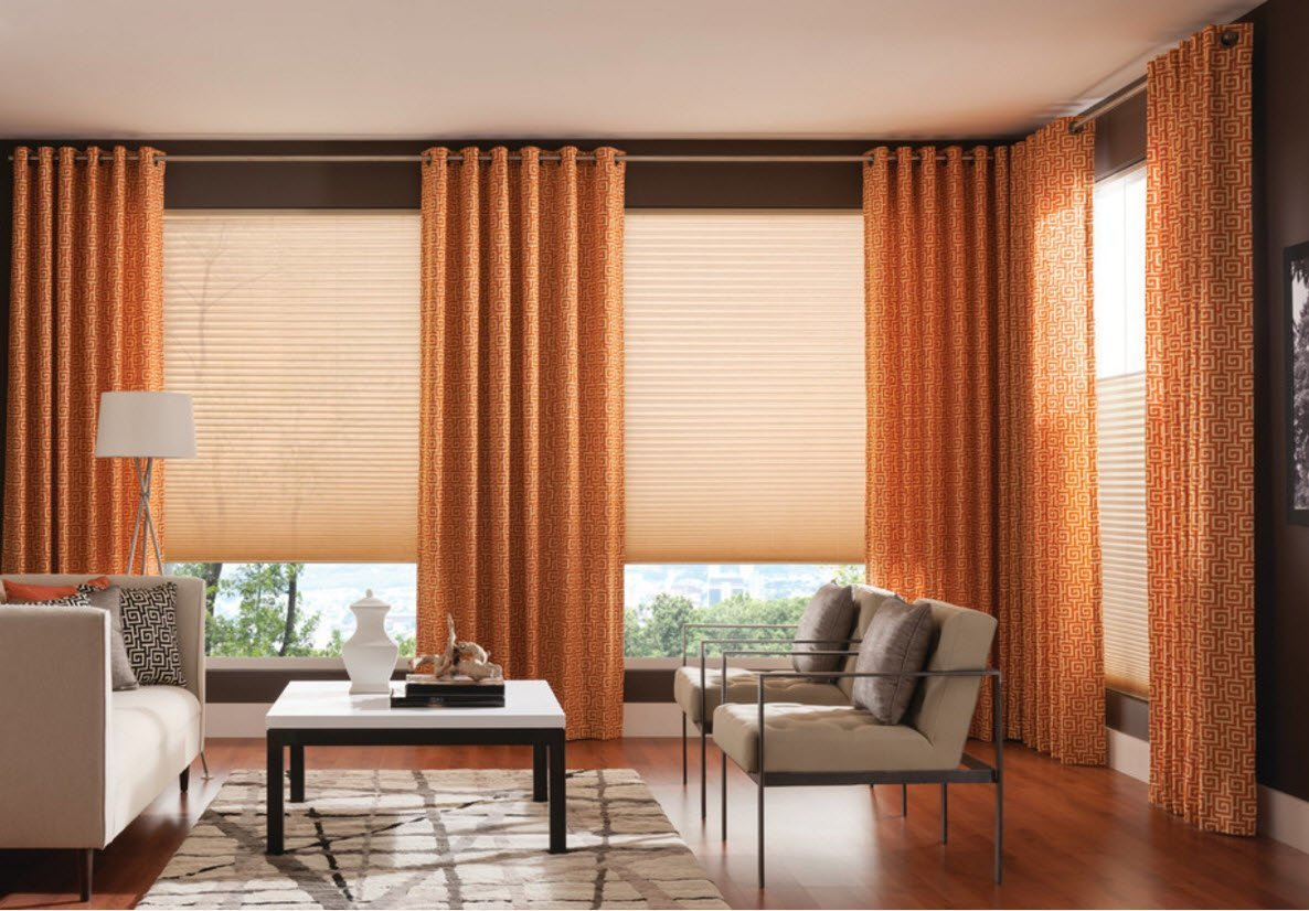Living Room Curtains Design Ideas 2016. Vertical dark orange blinds in combination with sandy roller blinds