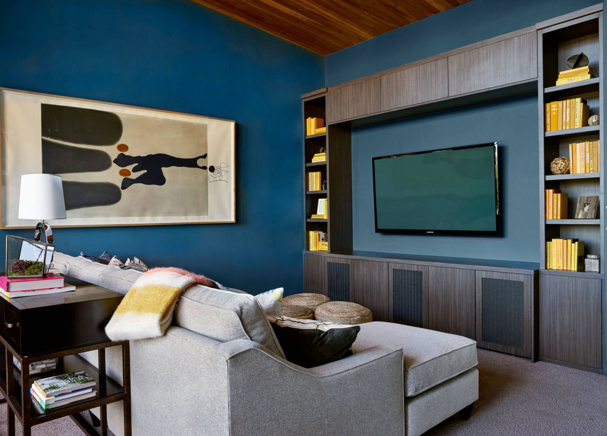 Storage Systems Variety for the Living Room. Unusual colorful decoration of the room in the dark blue shades and with the use of wooden trimming